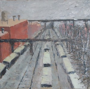 "Cleveland #3 Train Yard12x12"" oil on canvas$350"