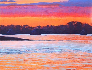 St. Lawrence Sunset  Oil on canvas Diana Ozolins