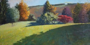 "October 21Lenore's Backyard in Newfieldoil on canvas, 12x24""$500"