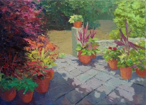 Plantations Patio, oil on canvas, 12x16""