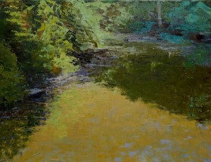 stream at Uppper Buttermilk, oil on canvas, 14x18""