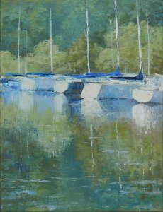 Four Sailboats, Treman Marina, 16x12, oil on canvas, sold.
