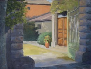 "Courtyard in Calvesson, 14x18"", oil on canvas"