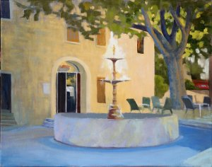 "Fountain at the Clock Tower Square in Sainte Dionisy, 14x18"", oil on canvas"