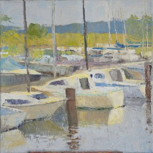 Treman Marina, August oil on canvas, 12x12""