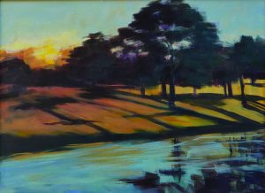 "Sarasota Sunrise #1, 12x16"" acrylic on paper mounted on masonite."