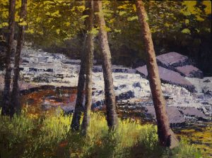 "Vermont Stream on Rt 100 (Mad River), oil on canvas, 18x24"", $600"
